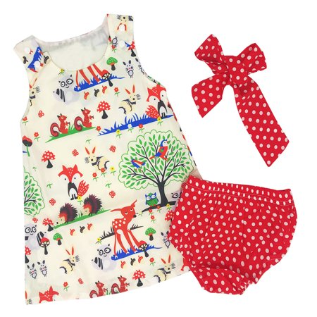 Dress Bloomers (Bilo Baby Girl Animal Print Sleeveless Mini Dress and Polka Dot Bloomers With Headband 3 Pcs Set (90/18-24 Months) )