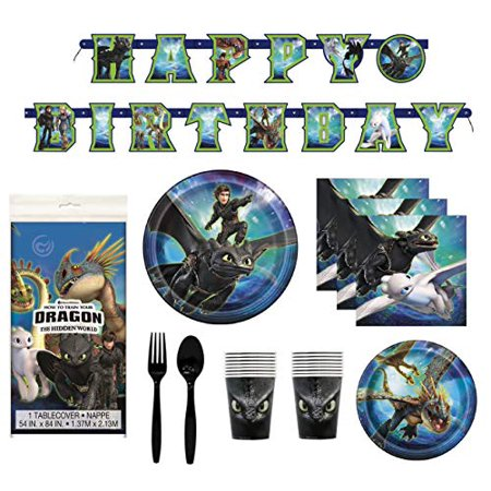 Premium Plastic Tableware (How To Train Your Dragon 3 Birthday Decorations And Tableware Plates Napkins Cups Table Cover Banner Premium Plastic Cutlery Serves)
