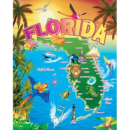 Oversized Map of Florida 54x68 Cotton Velour Beach Towel Blanket