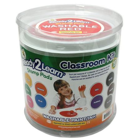 Jumbo Circular Washable Paint/Ink Pad, Classroom Kit, 10 Colors