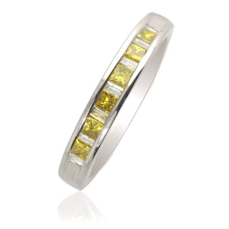 Treated Princess Cut Yellow Diamond and Baguette White Diamond Wedding Band 0.50ct tw in 14K White Gold.size 5.5 Princess Cut Tapered Baguettes