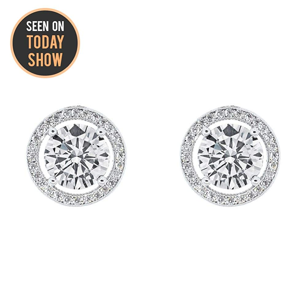Cate & Chloe Ariel 18k White Gold Halo CZ Stud Earrings, Silver Simulated Diamond Earrings, Round Cut Earring Studs, Best Gift Ideas for Women, Girls, Ladies, Special-Occasion Jewelry - msrp $99