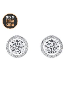 Product Image Cate Chloe Ariel 18k White Gold Halo Cz Stud Earrings Silver Simulated Diamond