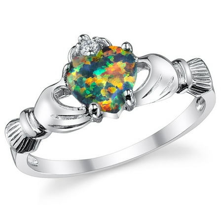 Sterling Silver 925 Irish Claddagh Friendship & Love Ring with Rainbow Simulated Opal Heart
