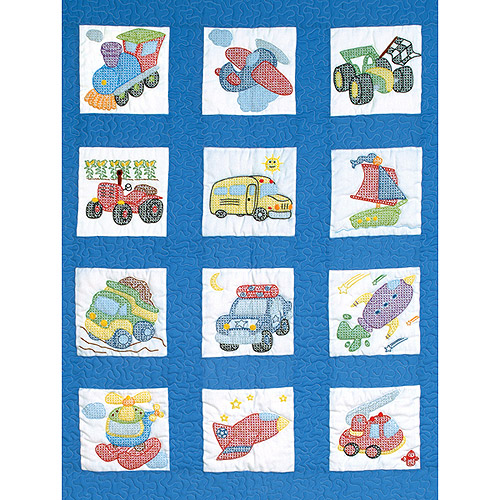 "Jack Dempsey Transportation Nursery Quilt Blocks, 12Pk, 9"" x 9"""