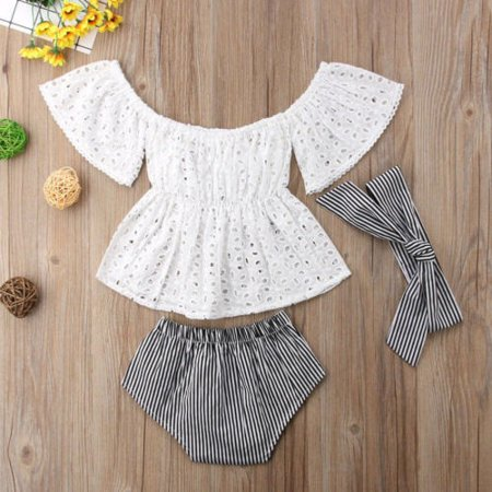 Cute Baby Girl Off Shoulder Tops Stripe Shorts 3pcs Outfits Clothes Summer - Cute Skorts