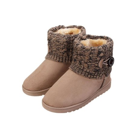 0ebc460f843 Meigar Winter Warm Women Snow Boots Suede Knit Booties Fur Lined Shoes