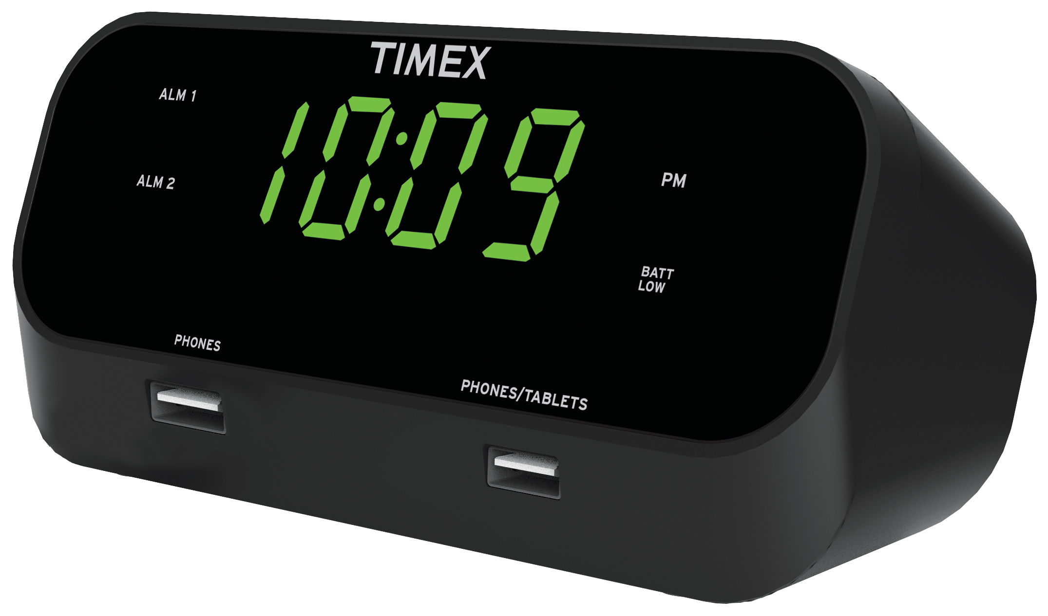 Timex Alarm Clock Dual USB Charging Phone Tablet RediSet Dual Alarms LED Display