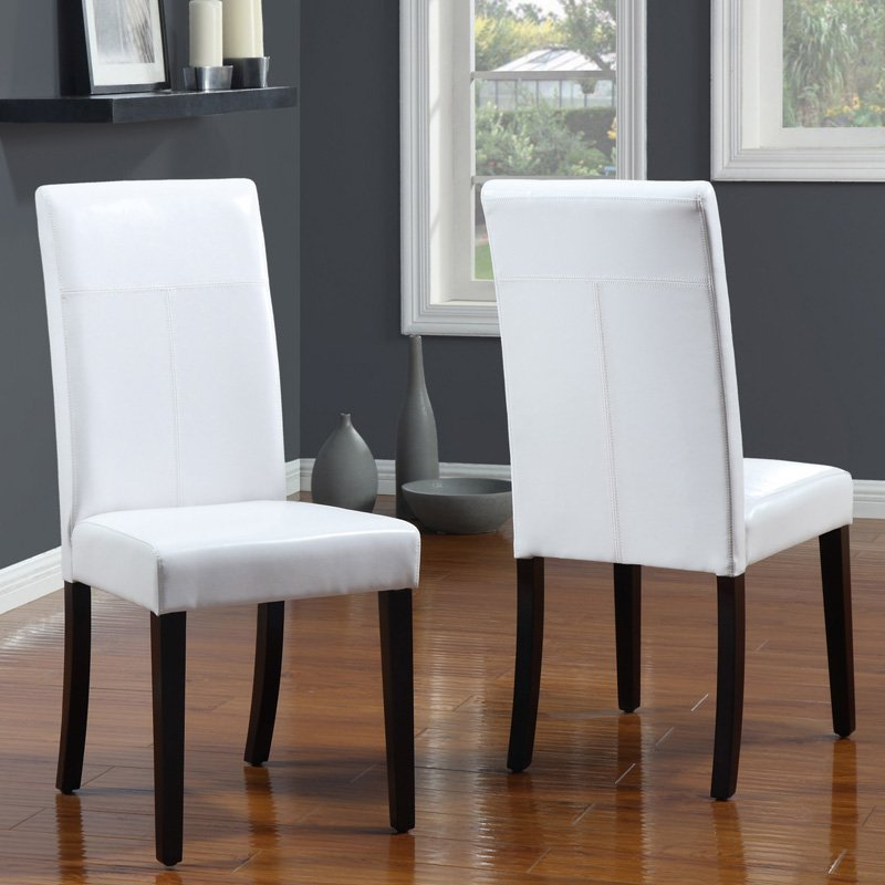 Urban Seating Parsons White Leatherette Chairs - Set of 2