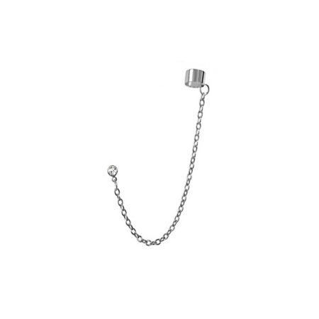 iJewelry2 Silver Tone Stainless Steel Link Chain Ear Cuff Earring with Round Cut Clear Crystal Stud