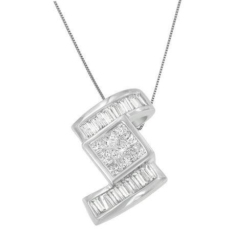 14K White Gold 1 2/5 CTTW Princess and Baguette Cut Diamond Zig Zag Pendant Necklace (H-I,SI1-SI2)