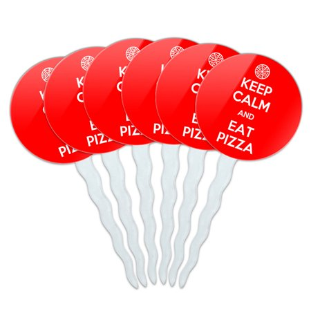 Keep Calm And Eat Pizza Red Cupcake Picks Toppers - Set of 6 - Toppers Pizza Coupon Code