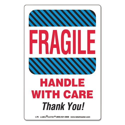 Labelmaster L76 Shipping/handling Self-adhesive Label, 4 X 6, Fragile/handle With Care, 500/roll