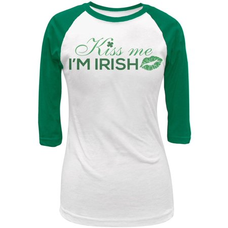 St. Patrick's Day Kiss Me I'm Irish Juniors 3/4 Sleeve Raglan T-Shirt
