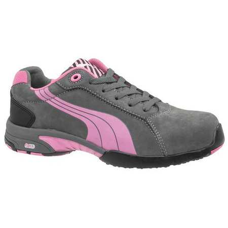Puma Safety Size 7 Steel Toe Athletic Style Work Shoes, Women's, Gray/Pink, C, 642865
