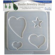 "Resin Jewelry Mold 6.5""X7""-Hearts & Stars - 4 Cavity"