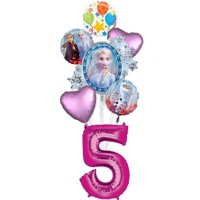 Frozen 2 Party Supplies 5th Birthday Elsa, Anna and Olaf Balloon Bouquet Decorations - Pink Number 5