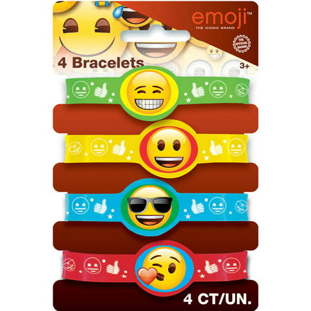 Emoji Rubber Bracelet Party Favors, Assorted, 4ct