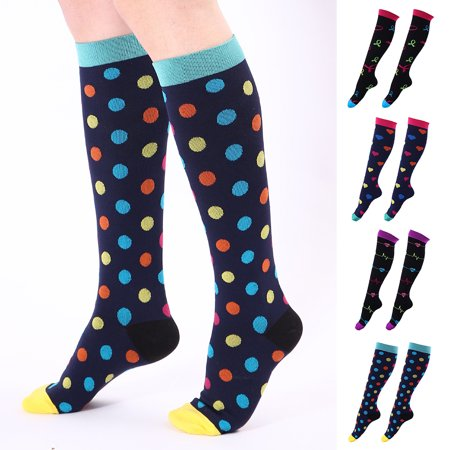 Moderna Colorful Heart Dots Print Athletic Men Women Breathable Long  Compression Socks