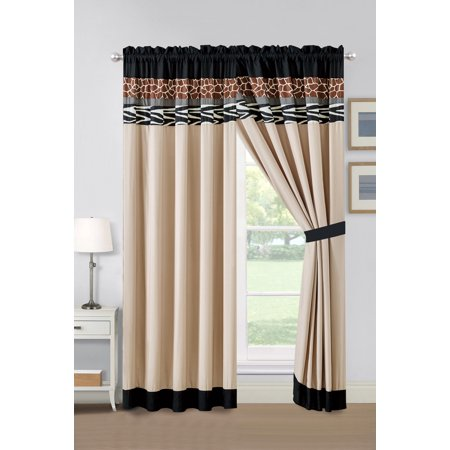 4-Pc Chobe Zebra Giraffe Safari Animal Stripe Curtain Set Black White Gray Brown Sand Drape Sheer Liner