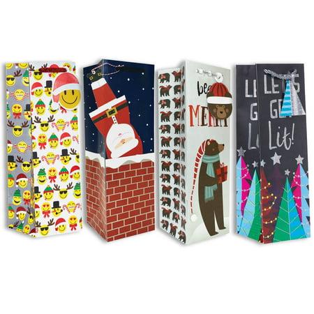 Jillson & Roberts Bottle Gift Bag Assortment, Christmas Designs (4 Bags)