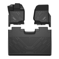 Lasfit 2018 2019 2020 Ford F-150 Floor Mats(Not for Rear Under Seat Storage ,Vinly Floor Only), All Weather Custom Fit TPE Floor Liners Set, 1st and 2nd Row, Black