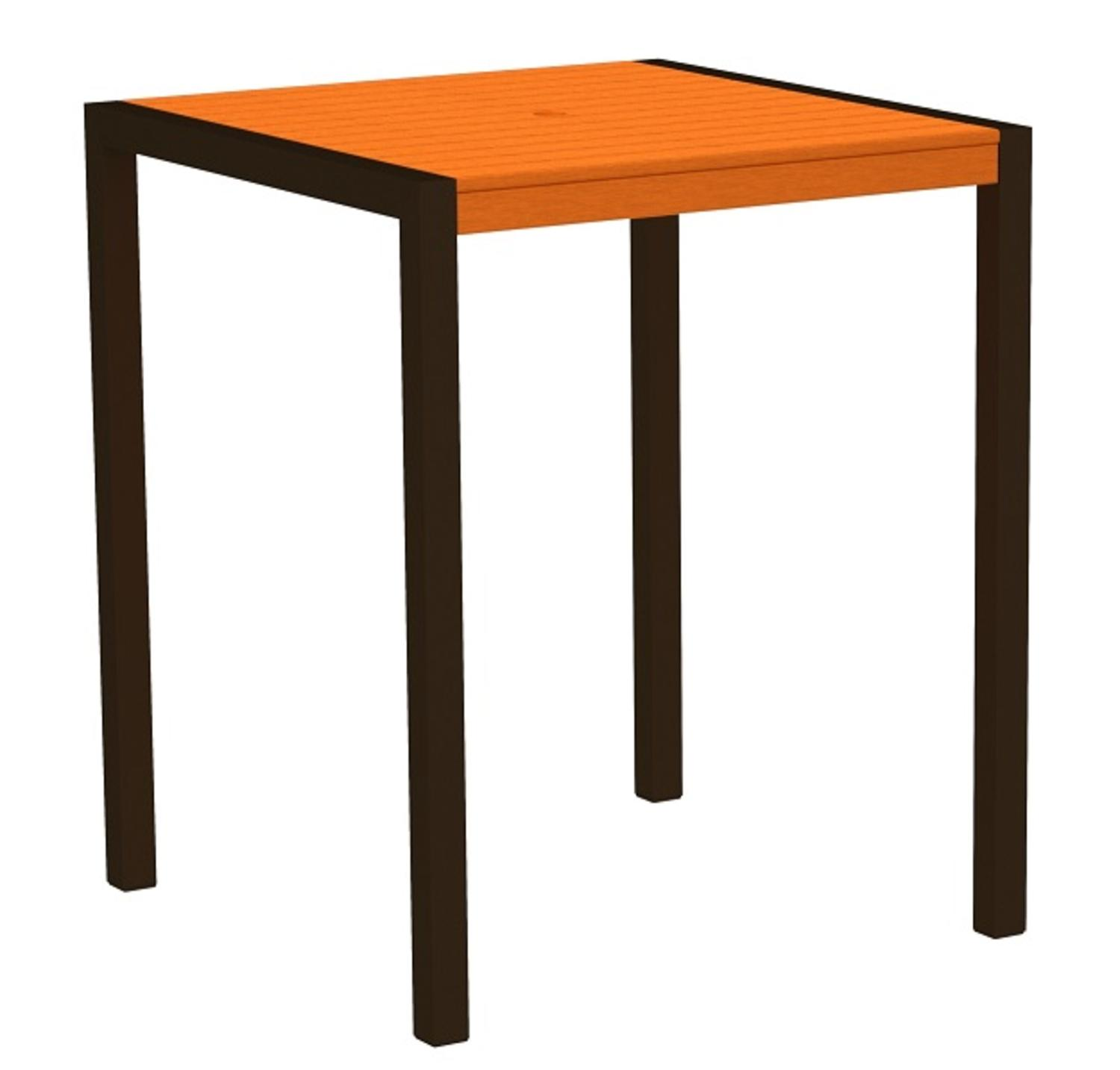 """42"""" Outdoor Recycled Earth-Friendly Bar Table - Orange with Bronze Frame"""