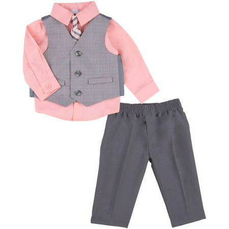 George Newborn Baby Boy Linear Plaid Dress Set