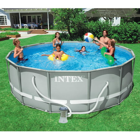 Intex 14 39 x 48 ultra frame swimming pool for Average square footage of a swimming pool