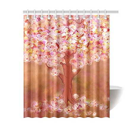 BPBOP Blooming Tree Shower Curtain Flower Art Polyester Fabric Bathroom Sets 60x72 Inches
