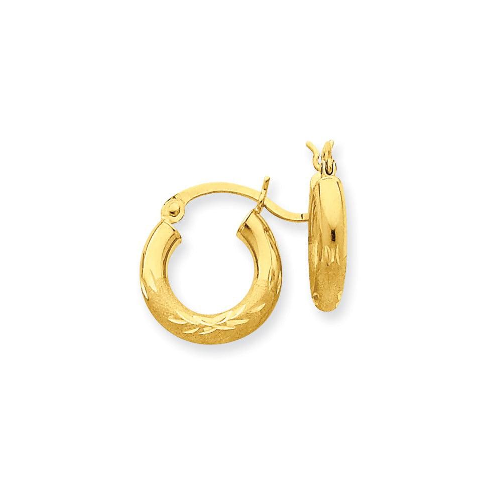 10k Yellow Gold Satin & D/C 3mm Round Hoop Earrings (9MM Long x 3MM Wide)