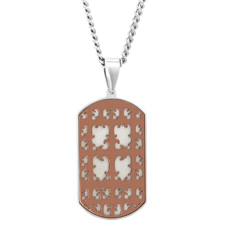 Men's Stainless Steel Brown Cross Dog Tag Pendant Necklace Chain