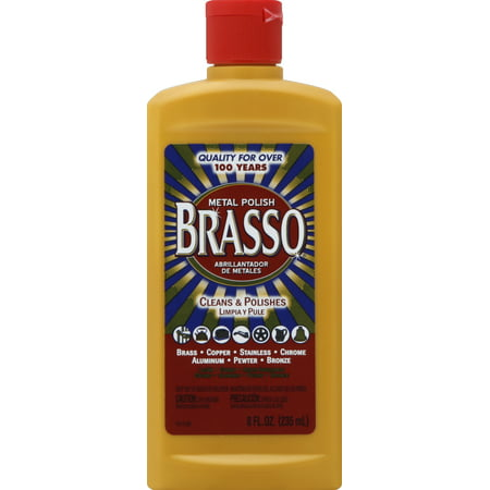 Brasso Metal Polish, 8oz Bottle for Brass, Copper, Stainless, Chrome, Aluminum, Pewter & (Rohl Brass Polished Pot)