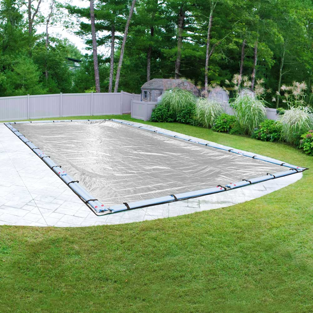 Pool Mate 15 Year Extra-Large Mesh Platinum Silver In-Ground Winter Pool Cover, 16 x 32 ft. Pool
