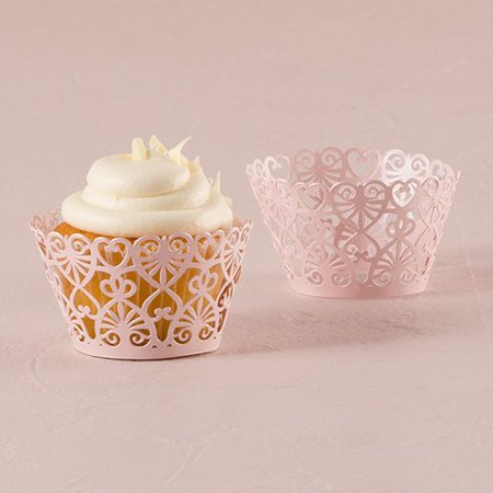 Lavender Lace Hearts Filigree Paper Laser Cupcake Wrappers