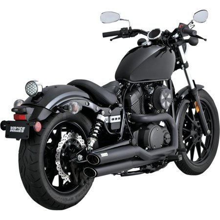 Stagger Exhaust (Vance & Hines 48531 Twin Slash Staggered Exhaust System - Black)