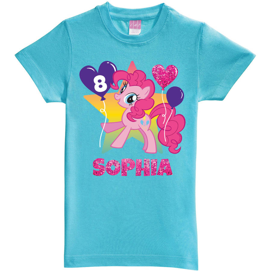Personalized My Little Pony Pinkie Pie Birthday Aqua Girls' Fitted T-Shirt