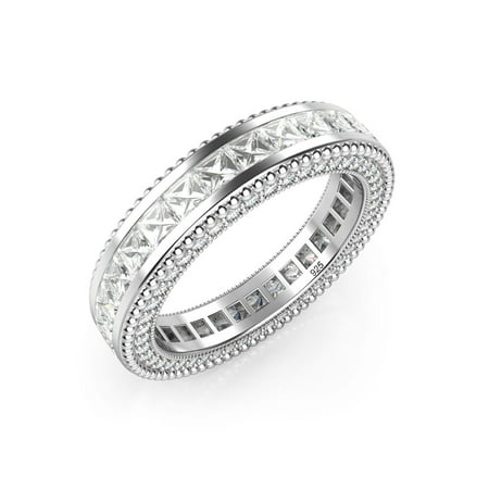 - Sz 7 Sterling Silver 925 Princess Cut Cubic Zirconia CZ Milgrain Eternity Band Ring