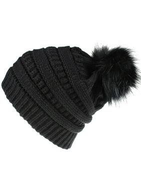 Womens Winter Knitted Warm Fur Pom Pom Bobble Baggy Plain Beanie Hats Caps