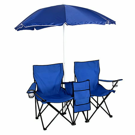 Portable Folding Picnic 2 Seat Chair W Removable Sun