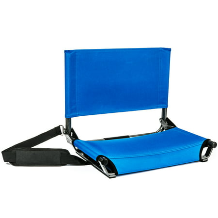 Cascade Mountain Tech Lightweight Folding Portable Stadium Seat with Shoulder Strap - Royal Blue