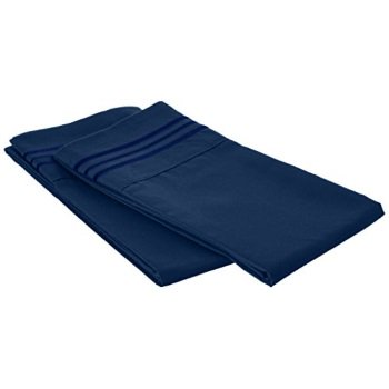 Pillow Top Cal King - elegance linen 110rw-pcase-king navy blue 2pc pillow cases 90 gsm microfiber - available in many sizes & many colors, king/cal king, navy blue