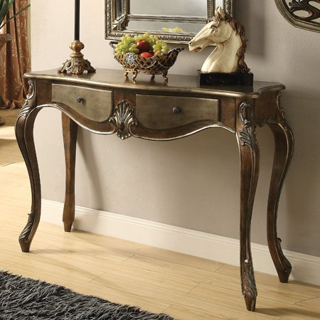 Benzara Two Drawer Wooden Console Table With Queen Anne Legs, Bronze And Gold