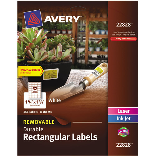 "Avery Removable Durable Labels, TrueBlock Technology, 1.25"" x 1.75"", Glossy WE, 256-Pack"