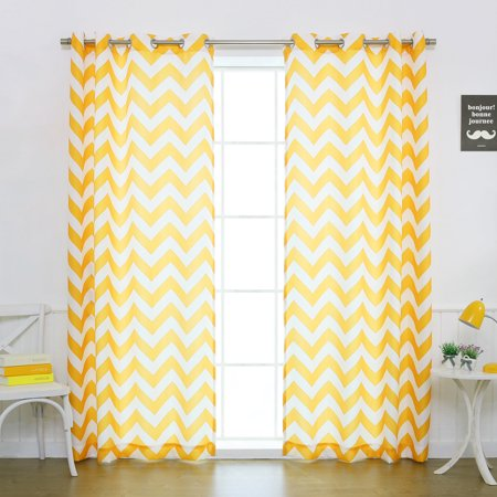 Quality Home Oxford Basketweave Chevron Print Curtains – Stainless Steel Nickel Grommet Top – Yellow – 52
