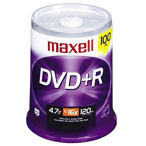 Maxell 16x DVD+R Discs Spindle, 4.7GB, 100-Pack