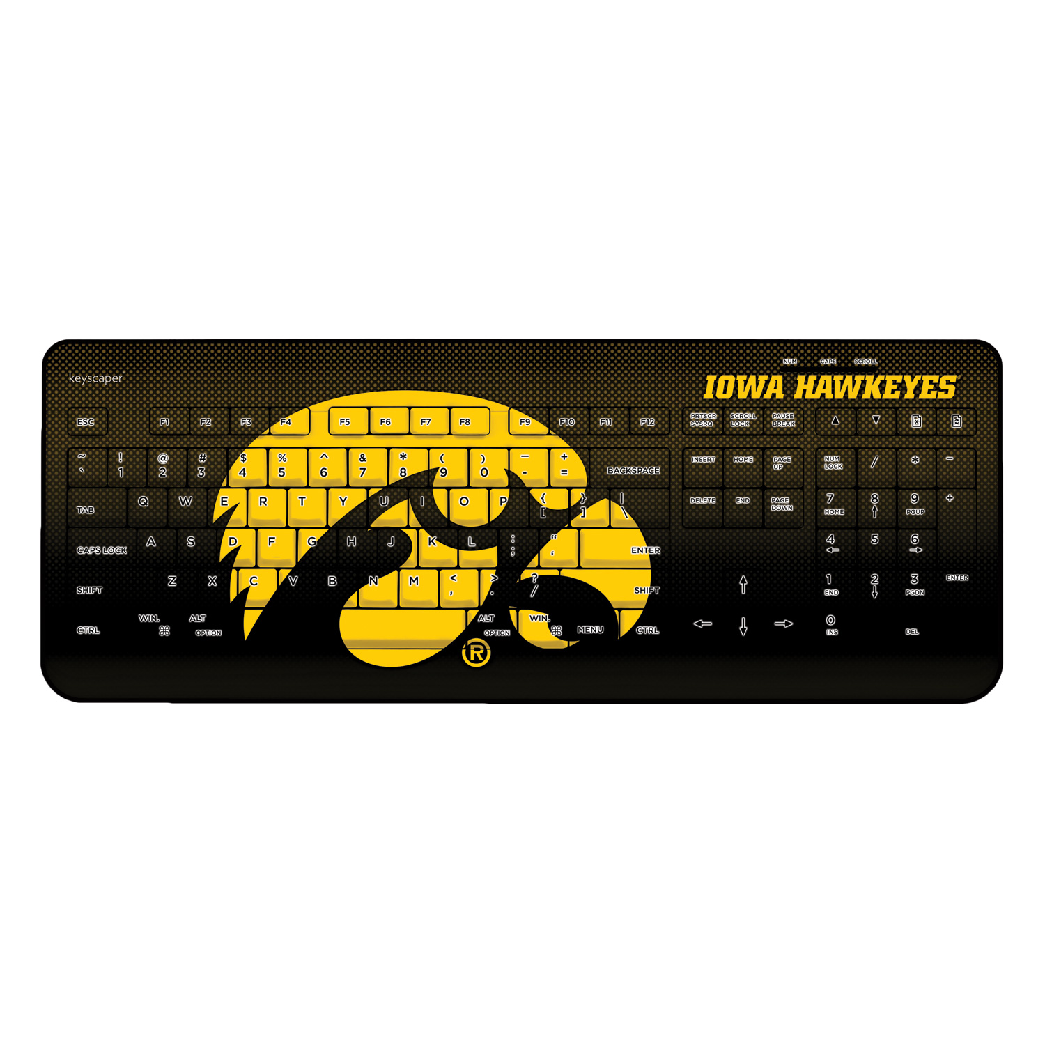 Iowa Hawkeyes Wireless USB Keyboard NCAA