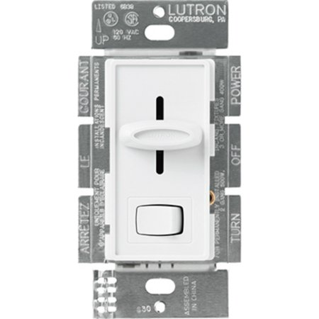 Lutron S 603PGH WH Skylark Preset Slide Single Way Dimmer 600W White