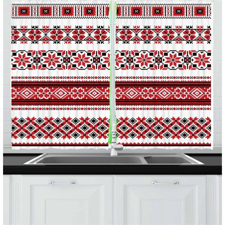 Arts & Crafts Window - Red Curtains 2 Panels Set, Ukrainian Needlework Illustration Ethnic Traditional Accents Arts and Crafts Theme, Window Drapes for Living Room Bedroom, 55W X 39L Inches, Red Black White, by Ambesonne