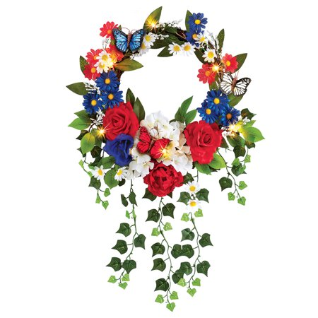 Lighted Patriotic Mixed Floral Summer Front Door Wreath 4th of July Decoration, 16